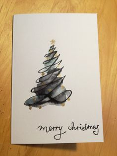 weihnachtskarte tannenbaum aquarell weihnachtsgr e mit. Black Bedroom Furniture Sets. Home Design Ideas
