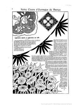 """Application ajourée et application sur tulle Notre Cours D'Ouvrages de Dames. Les Dimanches de la femme : supplément de la """"Mode du jour"""" 1922/11/19 (A1,N37) ."""