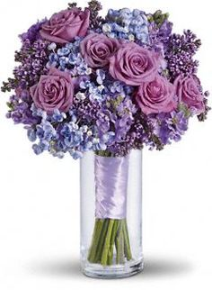 Purple and blue wedding flowers - love these!