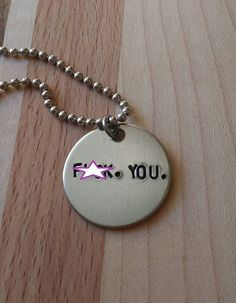 Handstamped F.You. Necklace by sassyfrassx3 on Etsy