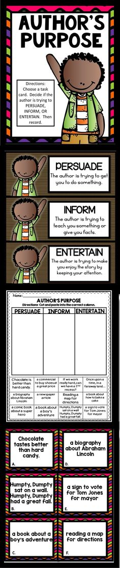 Purpose Activities Author's Purpose: Sort the descriptions into Persuade, Inform, or Entertain. Also includes a cut and paste worksheet.Author's Purpose: Sort the descriptions into Persuade, Inform, or Entertain. Also includes a cut and paste worksheet. 2nd Grade Teacher, 3rd Grade Classroom, Classroom Ideas, Future Classroom, Fourth Grade, Reading Comprehension Activities, Reading Strategies, Comprehension Strategies, Reading Fluency