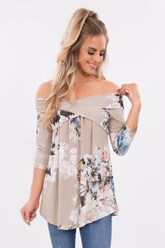 de05bb627c29c6 Above All Floral Print Off The Shoulder Top in Taupe Fashion Boutique