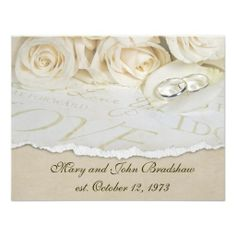 White Roses Wedding Vow Renewal Custom Announcements