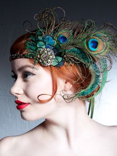 Absinthe Nymph Peacock Feather Flapper Headband