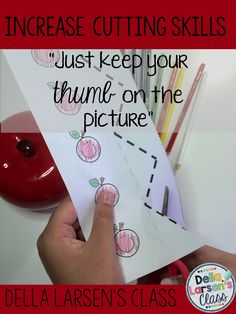 "Increase cutting and fine motor skills with this fun no prep printable. ""Just keep your thumb on the picture!"" Perfect for back to school."