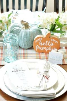 The table settings at this rustic pumpkin party are so impressive and have such a whimsical look. You can easily apply these decorations to a Thanksgiving party too. See more party ideas and share yours at CatchMyParty.com #catchmyparty #partyideas #pumpkin #pumpkinparty #pumpkin1stbirthdayparty #fall #fallparty #pumpkintablesettings Baby Shower Cakes For Boys, Baby Shower Parties, Shower Party, Race Car Birthday, Cars Birthday Parties, Pumpkin Table Decorations, Baby Shower Fall, Girl Shower, Harry Potter Party Decorations