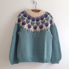vintage hand knit FAIR ISLE seafoam TULIPS by vintspiration, $48.00