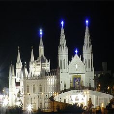 Basilica of Our Lady of Velankanni at night