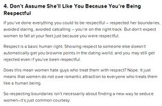 respect is a baseline, not a guarantee