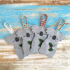 Sleepy koala Christmas decoration, Australian animal, grey, Aussie