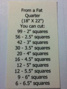 Fat quarter quilting cheat sheet - how many squares you can cut from one piece... ahhh haaa!!! genius little cheat sheet