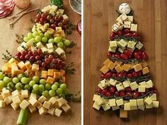 Pictures pinned from Mariana Ochoa (left) and Sarah Wolfe Easy Christmas Treats, Christmas Appetizers, Simple Christmas, Christmas 2016, Christmas Decor, Christmas Gifts, Holiday Decor, Kos, Cheese Tree