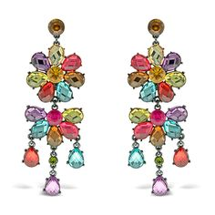 Genuine Princess Amanda Multi-Color Stones Flower Drop Earrings HSN #PrincessAmanda #DropDangle