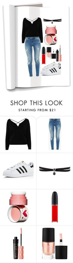 """""""Fashion Journal 📓"""" by skykat ❤ liked on Polyvore featuring River Island, Ted Baker, adidas, Fallon, Clarins, MAC Cosmetics, Benefit and MAKE UP FOR EVER"""