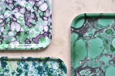 Collage of trays with marble effect by Swedish design company Studio Formata. Available at studioformata.se