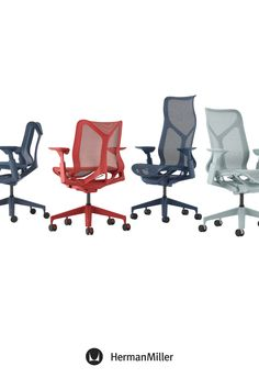 Create a comfortable, beautiful office with Cosm—now available with height-adjustable arms in the chair's signature Dipped-in-Color aesthetic. Ideal for spaces across the floorplan—from collaborative settings to individual workstations—this office chair comes in six colors. Choose from three saturated Dipped-in-Color options or three neutrals to brighten office workspaces. Sayl Chair, Comfortable Office Chair, Home Office Chairs, Ergonomic Chair, Executive Chair, Modern Desk, Chair Pads, Workspaces, Herman Miller