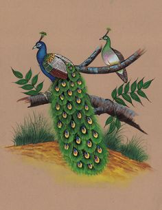 Indian Peacock Painting Handmade Watercolor Miniature Nature Bird Wild Life Art