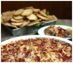 Reuben Dip 1 lb. diced corned beef 8 oz. shredded swiss cheese 1 14-oz. can sauerkraut, drained very well , 3/4 c. mayonnaise 1/4 c. Thousand Island dressing salt and pepper, to taste In a large bowl, mix all ingredients together. Spoon into a serving dish that can be placed in the oven (a 9″ pie plate). Bake at 400° for about 20 minutes,