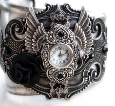 Gothic Jewellery | Gothic Cuff Watch women wings black rose Gothic Jewelry by Aranwen