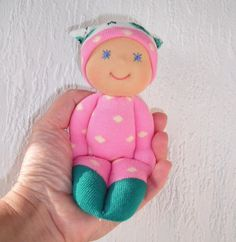 pocket dolls,crochet dolls, something than less the traditional barbie or bratz doll is now the hip cool doll Check out ETSY the site is full of them. This cutie is from Fairybugcreativetoys on ETSY
