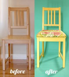 Tutorial: add upholstery to chairs. Cut MDF board to size, lay on chair, drill four holes through board and seat. Take board off seat and put carriage bolts Through board. Glue on foam (already cut to size), staple on fabric, and attach to chair. Redo Furniture, Diy Dining, Furniture Diy, Upcycled Furniture, Refinishing Furniture, Home Decor, Wooden Chair, Dining Chairs, Upholstered Chairs