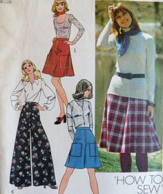Retro 1970s Gauchos Pattern Wide Leg Pantskirt Pants by WildPlumTree, $5.00