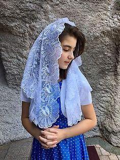 White Spanish style veils and mantilla Catholic Church lace latin Large Chapel Veil, Wedding Veils, Spanish Style, Catholic, Kimono Top, One Piece, Bride, Lace, Floral