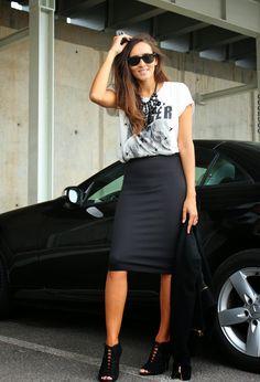Camiseta de algodón con falda de tubo, street style, moda, fashion blogger