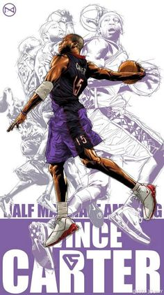 This design looks like a montage of images of Vince Carter and him being a nba player the focal point of the photo is Vince but he has other images in sort of a outline in the background Basketball Posters, Basketball Is Life, Basketball Legends, Nba Pictures, Basketball Pictures, Basketball Videos, Sports Basketball, Sports Art, Basketball Tattoos