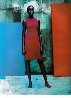 Champ de Couleur  Vogue Paris, December/January 1997-98  Photographer: Jean-Baptiste Mondino  Model: Alek Wek  Dress by Martine Sitbon