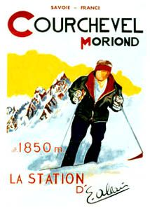 COURCHEVEL MORIOND Vintage Skiing Poster Reprint - Ski French Alps - available at www.sportsposterwarehouse.com