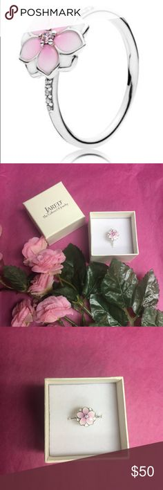 Pandora Magnolia Bloom Ring Brand New in box Magnolia Bloom Ring Pale Cerise Enamel & Pink CZ. Pretty Petals in a delicate arrangement atop a sterling silver ring. In box brand new ring. Comes in Jared Jewelry box. From Pandora's latest collection. Pandora Jewelry Rings