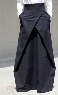 Modern High Waisted Skirt Loose Gothic Skirt Bohemian Cotton Skirt Sexy Oversized Skirt Futuristic Clothing Trending Now Oversize Skirt fashion chic Bohemian Skirt, Cooler Look, Gothic Rock, Looks Black, Moda Vintage, Plus Size Skirts, Asymmetrical Skirt, Sexy Skirt, Cotton Skirt