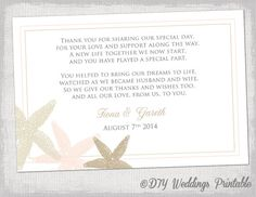"Beach Wedding thank you card template ""Starfish"" wedding printable Ecru champagne petal / blush pink - You edit Word Templates, $8.00"