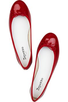 Repetto, red patent-leather ballerina flats,