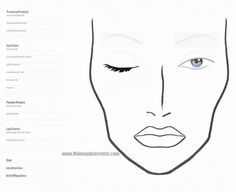 Blank MAC Face Chart Closed Eye