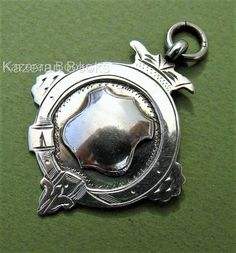 Vintage Solid Sterling Silver Pocket Watch Albert Chain Medal Watch Fob J Fenton