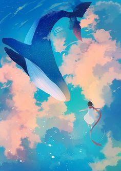Tagged with wallpaper, mildly interesting, anime, aww, dump; Art And Illustration, Illustrations, Fantasy Kunst, Fantasy Art, Pretty Art, Cute Art, Wallpaper Animes, Whale Art, Anime Scenery