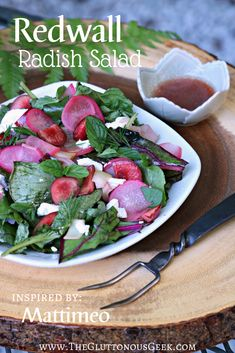 Redwall Radish Salad inspired by Brian Jacques's Mattimeo. Recipe by The Gluttonous Geek.