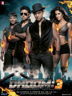Dhoom 3 / Chicago is hit by a mysterious thief targeting one bank - can Mumbai cop Jai Dixit catch the shadowy chor? Best Bollywood Movies, Telugu Movies, Latest Indian Movies, Latest Movies, Dhoom 3, Film D'action, Bollywood Posters, Bollywood Photos, Hindi Movies Online