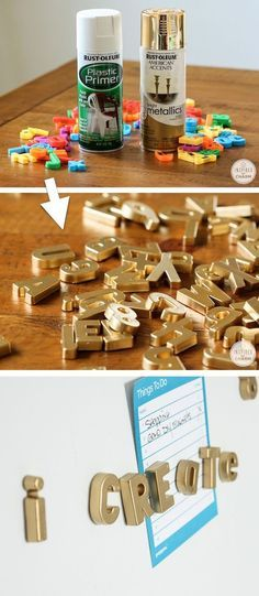 DIY Gold Magnetic Letters (cool idea for the fridge!) -- Home decor ideas for cheap! Lots of Awesome and Easy DIY spray paint ideas for projects, home decor, wall art and furniture!! This makes refurbishing old things so much fun! Just visit thrift stores and dollar stores to make things on a budget! Listotic.com