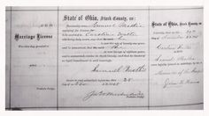 This is the 1868 marriage record for my great-great-grandparents, Samuel Russell Mathie & Caroline Martha Walter. They were married 29 Nov 1868 in  Stark Co., Ohio.