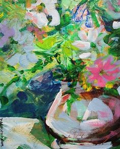 """Daily Paintworks - """"White Vase Floral"""" by Mary Schiros"""