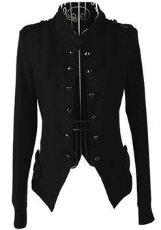 Black Plain Buttons Long Sleeve Cotton Blend Coat