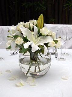 White Oriental Lily & White Rose - Glass Fish Bowl Vase