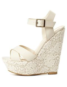 Lace Covered Platform Wedge Sandals $32.00
