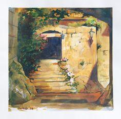 Fairytale courtyard, watercolor, 40x40 cm, 2014