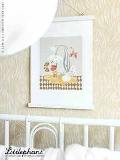 """Littlephant Art print """"Little spring"""" is designed in our Stockholm Studio by Camilla Lundsten. Scandinavian sustainable design for your kids room. Image: Meadow wallpaper - yellow."""