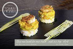 Garnelentürmchen Garnelen Reis Gemüse foodporn kärnten küche kochen, ohne Fleisch, Fisch, vegetarisch, vegan Curry, Chicken, Food, Fish, Rice, Easy Meals, Koken, Kalay, Curries