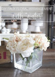 How to make your own fake water for artificial flowers pinterest diy faux floral arrangement with fake water mightylinksfo